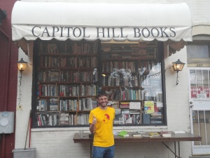 Posing in front of Capitol Hill Books, a bibliophile's agoraphobic's wet dream! If you're in D.C.'s Easter Market, don't pass up the opportunity to hit up this indie used bookstore: every inch of the establishment (including the bathroom) is cluttered with books.