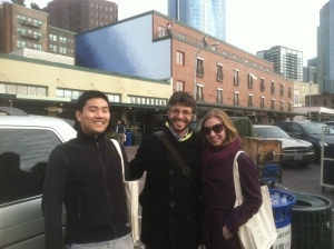 Mark Keats, Arielle Bernstein, and I at the first Starbucks in Seattle! (on a side note, the distance between Mark and I is not metaphorical - he's making room for the sign in the back... I think...)