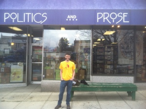 Posing in front of Politics and Prose, one of the premier D.C. indie bookstores